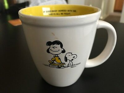 """Peanuts Hallmark Lucy & Snoopy """"If Everybody Agreed With Me.."""" Coffee Mug Cup"""