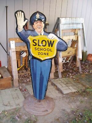Used Vintage Coca Cola School Zone Policeman metal sign (approx 5' tall)