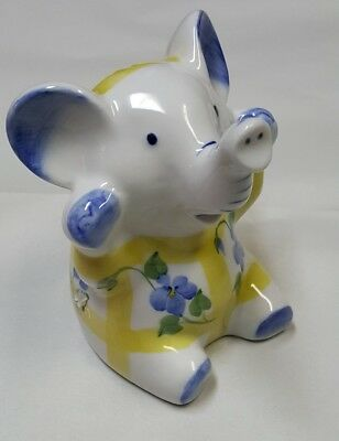 "Porcelain Baby Elephant Figural Piggy Bank Blue and Yellow 4.5"" Tall"
