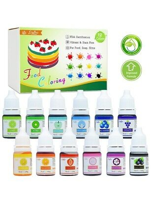 Food Coloring Set Liquid 12 .25 Ounce Bottle For Baking Icing Cooking, Color Dye