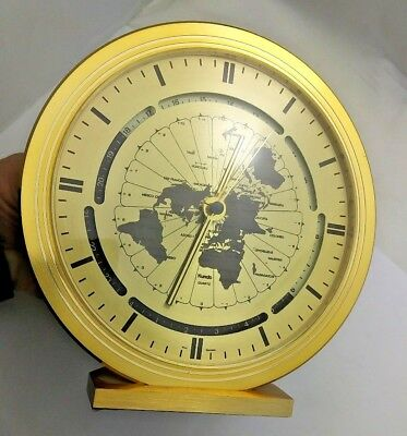 World Clock Kundo Quartz Mantel Clock West Germany Works