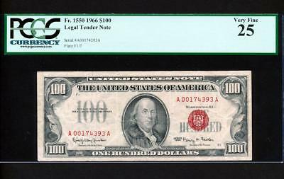 Fr.1550 1966 $100 LEGAL TENDER UNITED STATES NOTE PCGS 25 VERY FINE SUPER RARE