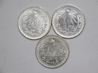 Mexico 1918 1919 1920 Un Peso Cap & Rays Silver Type World Coin Collection Lot L