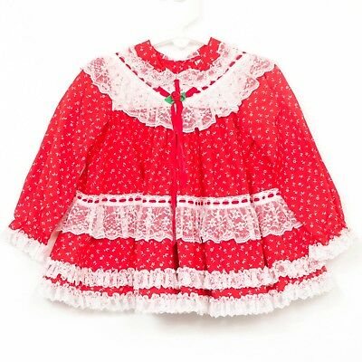 Baby Togs Christmas Dress 6-9 Mos VTG Red Lace Floral Long Sleeve Ruffle Girls