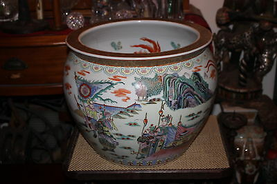 LARGE Chinese Pottery Planter Fishbowl-Painted Religious Elders Warriors-Signed