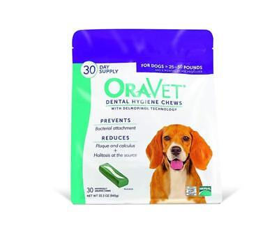 Oravet Dental Hygiene Chews Medium Dogs (25-50 Lbs), Dental Treats For Dogs, 30