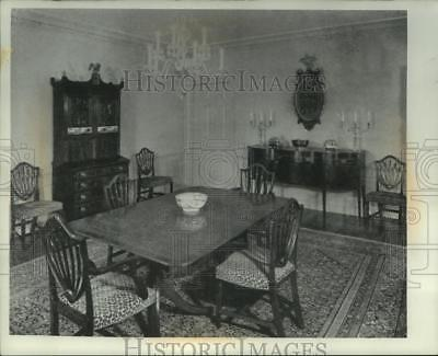 1956 Press Photo Dining room full of antique furniture in the Stanley Stone home