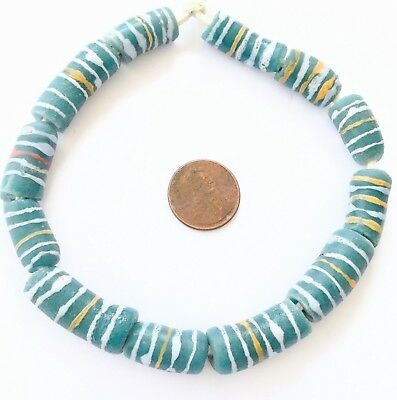 Ghana Handmade recycled Glass Teal Green Multi African Trade beads-Ghana
