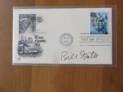 Bill Gates Microsoft Signed Autographed 1996 Fdc 50 Years Of Computing Sgc Loa