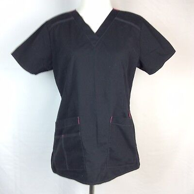 Wong Flex Solid Black Scrip Top Size Small With Pockets Great Condition