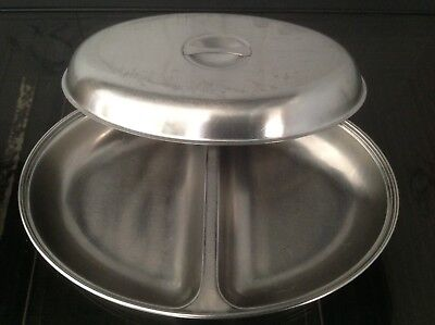 Sunnex Stainless Steel Two Compartment Vegetable Dish In Good Condition with LID