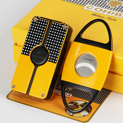 COHIBA Yellow Classic 3 Torch Jet Flame Cigar Lighter W/ Saw Blade Cutter Punch