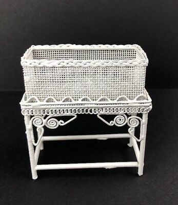 Vintage Dollhouse Miniature Plant Stand White Wire Victorian Style 1:12