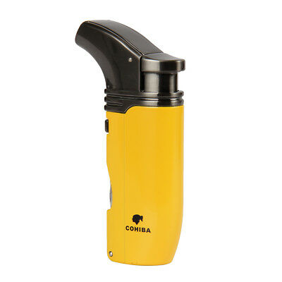 COHIBA Yellow Finish 2 Torch Jet Flame Cigar Lighter W/ 2 Punch