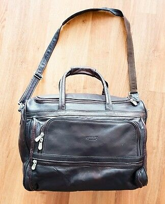 HUNT Leather Chocolate Carry on Duffle Bag