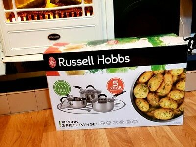 Russell Hobbs Fusion 3 Piece Stainless Steel Pan Set