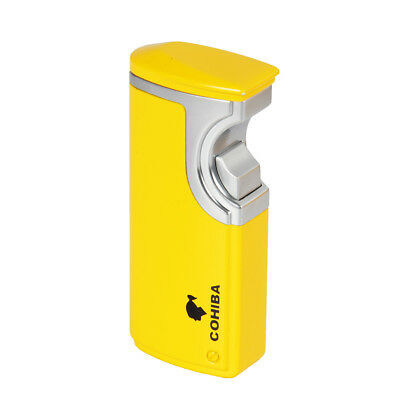 COHIBA Yellow Finish Touch Induction 3 Torch Jet Flame Cigar lighter W/ Punch