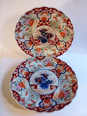 """Pair of Antique Imari chargers 31cm 12"""". Scallop edge Japanese / Chinese ?"""
