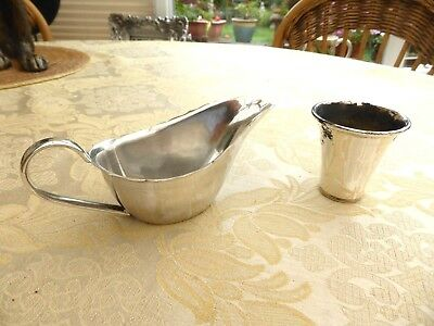 Vintage Silver Plated Gravy/sauce Boat And Spirit Measure   1370092/096
