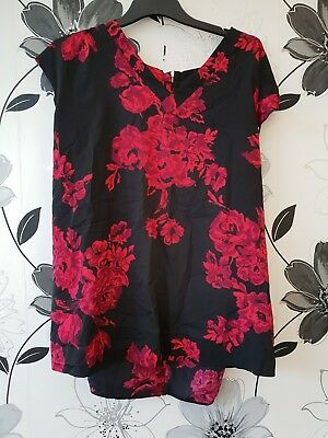 Maternity Top Size 18 ASOS Black Flower Pattern