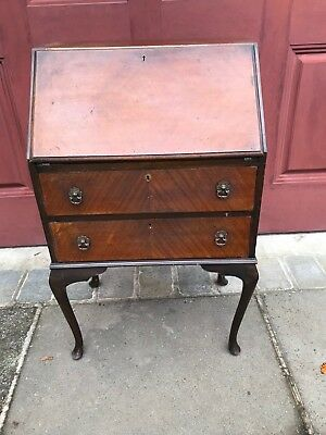 Antique wooden writing bureau with 2 drawers - Vintage