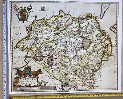 Historic Antique Old vintage Blaeu Map of Ulster, Ireland 1654 1600's: REPRINT
