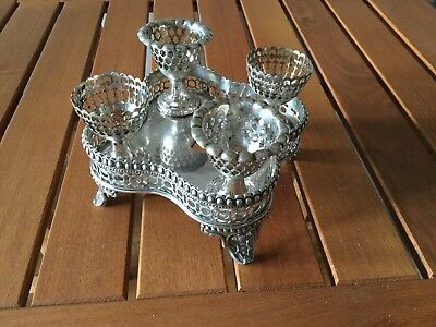 Antique silver plated egg caddy with 4 cups