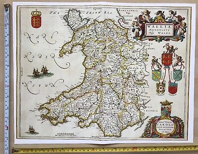 Historic Old Tudor Antique vintage Blaeu Map of Wales 1645 1600's: REPRINT