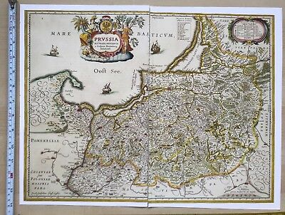 Historic Old Antique vintage Blaeu Map of Prussia 1600's: REPRINT