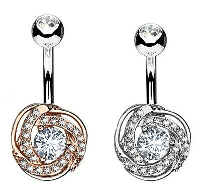 TITANIUM - Small Round Rose Belly Bar - Clear Crystals: 6mm 8mm 10mm 12mm 14mm