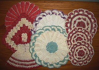 Lot of Mixed Vintage Crochet Hot Pads & Doilies