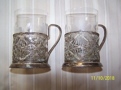 Vintage Filigree Silver Plated Russian Glass Tea Cup Holder - Set Of 2