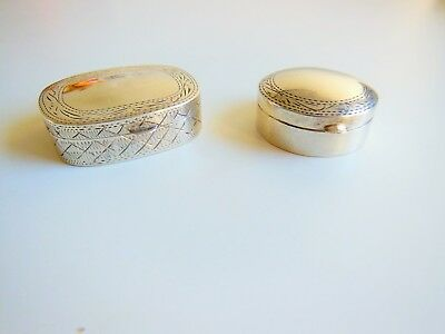 2 X Vintage Engraved  Silver Pill/snuff Boxes