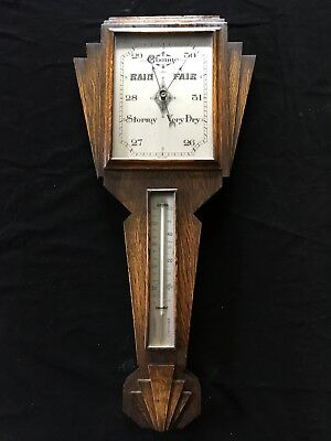 Vintage Art Deco Wooden Wall Hanging Barometer and Thermometer