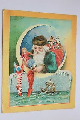 Woolson Spice Co/Lion Coffee SANTA in GREEN ROBE/Toys/Stockings/Ship Trade Card
