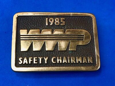 Vintage 1985 WWP Safety Chairman company belt buckle by Anacortes Brass Works