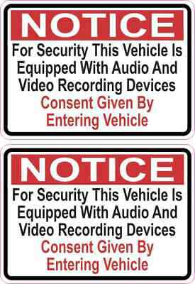 [2x] 3.5x2.5 Audio and Video Recording Consent Car Truck Vehicle Bumper Decal