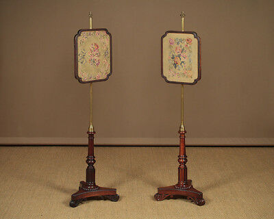 Pair of Regency Rosewood Pole Screens c.1830.
