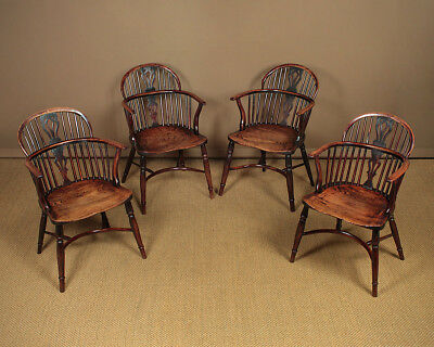 Antique Set of Four 19th.c.Yew & Elm Windsor Armchairs c.1830.