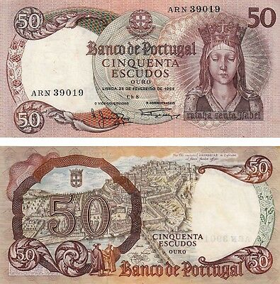 Portugal 50 Escudos Currency Banknote 1964 Extreme Fine ! Free Shipping !!