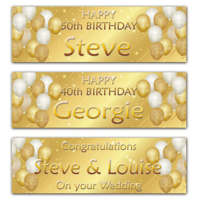 2 personalised birthday banner gold party balloon wedding celebration poster