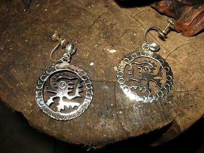 Mayan Aztec Earrings STERLING SILVER TAXCO Mexico ancient ALIEN art Nazca trirad