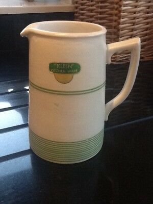 "Vintage Jug by Kleen Kitchen Ware, height 6"", original with label."