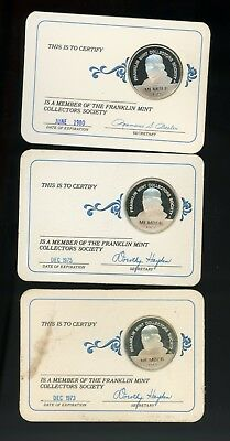 1973 1975 1980 Franklin Mint Collector Society Coins On Cards