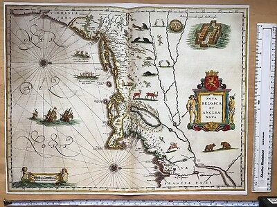 Historic Antique vintage Blaeu Map of New England, USA, N America 1600s REPRINT