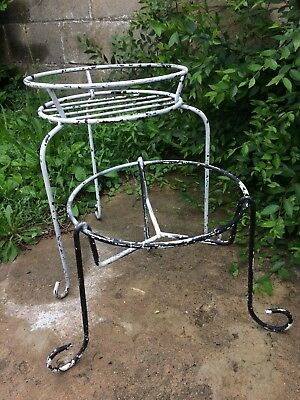 2 Antique Vintage Cast Wrought Iron Large Garden Plant Pot Stand
