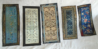 Lot 5 Antique Vintage Asian Chinese Embroidered Silk Panel Butterfly Lotus Birds