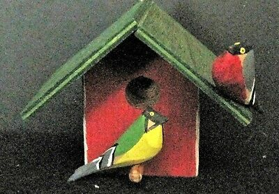 Swedish Vintage Wooden Christmas Birdhouse Ornament Hand carved birds