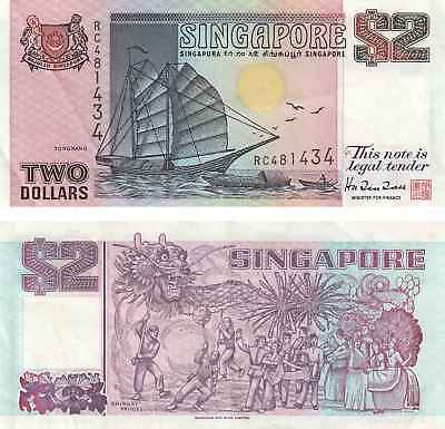 $2 Two Dollars Singapore Currency Banknote VERY FINE  ! Free Shipping !
