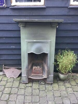 Art Nouveau Cast Iron Combination Fireplace Original Green Verdigris Paint